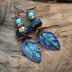 Mayan Headdress Copper and Lampwork Earrings