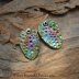 Painted Copper Multi color Sea Urchin Drop pair with ICE Resin #809