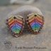Copper Rainbow Chevron Drop with Ice Resin Pair  (1 pair)