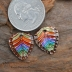 Copper Rainbow Chevron Drop with Ice Resin Pair  (1 pair)