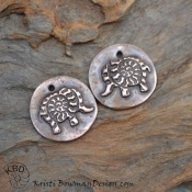 Copper Wee Ammonite Spiral Elephant Pair