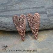 Copper Moroccan Lace Elongated Heart Pair  (1 pair)