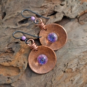 Tidepool, Copper and Lampwork Glass Headpin Earrings.