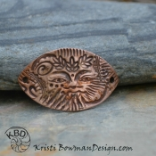 Copper Green Man Collage Bracelet Bar #47
