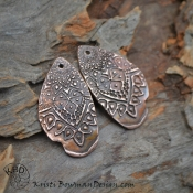 Painted Tribal Copper Drop (1) pair