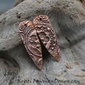 Copper Smiling Sun/Moon Face Shard (1) pair