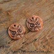 Handmade Copper Owl Face  (1) pair