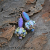Crazy Cool Handmade Glass Sea Urchin beads with Druzy Agate Rainbow Tube Earring