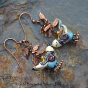 Handmade Lampwork Bird Earrings