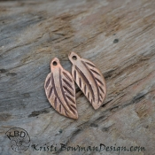 Artisan Copper Carved Leaf pair.