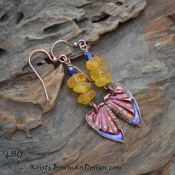 Painted Copper Butterfly Wings with Resin and Amber Earrings