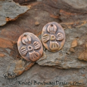 Carved Copper Flower Ovals (1) pair