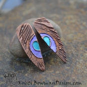 Painted Purple/Turquoise Peacock Feather Shard (1) pair