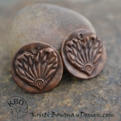 Embossed Copper Wing Textured Heart (1) pair