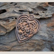 Handmade Large Copper Woodblock Heart Focal (1)