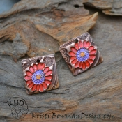 Handmade Copper Flower Garden Square pair (1 pair)
