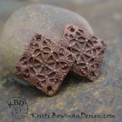 Copper Filigree Diamond 2 hole (1) pair