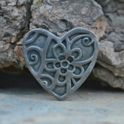 Handmade White Copper Woodblock Heart Focal (1)