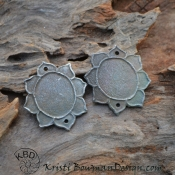 Lotus Flower in White Copper (1 pair)