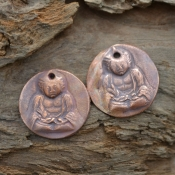 Handmade Copper Buddha Components (1 pair)