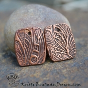 Zentangle Textured Copper Barrel Shape Component pair (1) pair