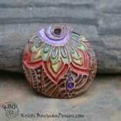 Painted Copper Rainbow Flower Focal with ICE Resin #795.