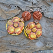 Fall Flowers, Polymer Clay Hibiscus and Beaded Bead Earrings