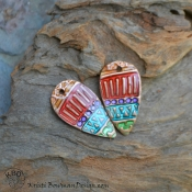 Painted Tribal Copper Drop with Ice Resin (1) pair