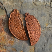 Handmade Copper Embellished Leaf/Feather component Pair (1 pair)
