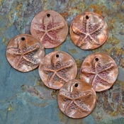 Handmade Copper Starfish Discs (1 pair)
