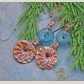 Ammonite and recycled glass earrings